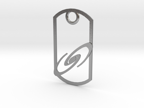 Spiral galaxy dog tag in Natural Silver