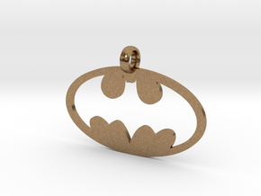 Batman necklace charm in Natural Brass