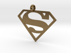 Superman necklace charm in Natural Bronze