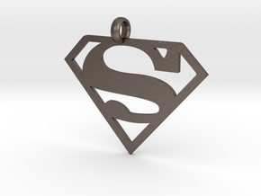 Superman necklace charm in Polished Bronzed Silver Steel