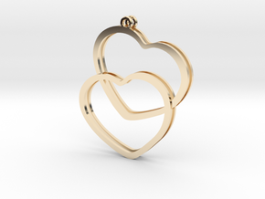 2 Hearts earrings in 14K Yellow Gold