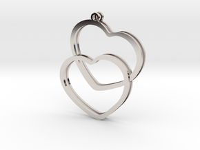 2 Hearts earrings in Platinum