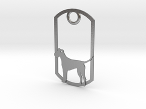 Irish Terrier dog tag in Natural Silver