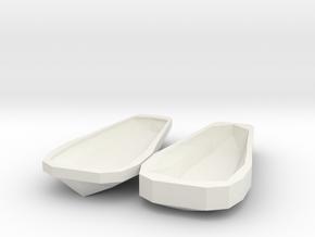 Miniature Open Sarcophagus in White Natural Versatile Plastic