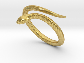 Snake Bracelet_B01 in Polished Brass: Medium
