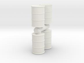 Oil Barrel (x4) 1/56 in White Natural Versatile Plastic