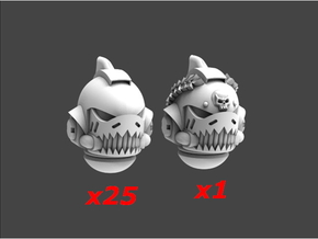 Space Sharks Last Gen Helmets Sprue 1 in Smooth Fine Detail Plastic