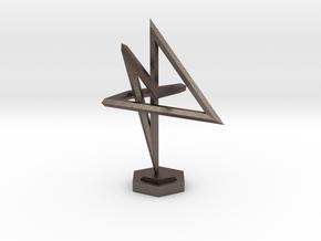 Warped 4 in Polished Bronzed Silver Steel