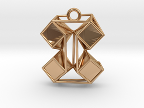"""Origami-inspired pendant - """"extruded boxes"""" in Polished Bronze: Medium"""