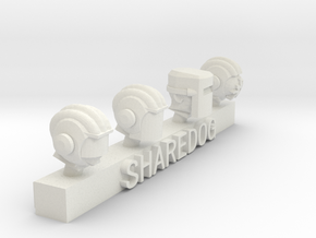 Head Series: Armored Spacemen in White Natural Versatile Plastic