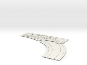 Double turnout Concrete Right HO scale  in White Natural Versatile Plastic