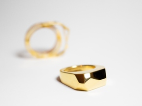 Gold Ring: 14k gold plated brass – statement in 14k Gold Plated Brass: 8 / 56.75