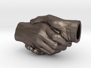 Handshake pendant (B: 2.5cm) in Polished Bronzed-Silver Steel