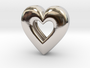 Heart Pendant ver.2 in Rhodium Plated Brass