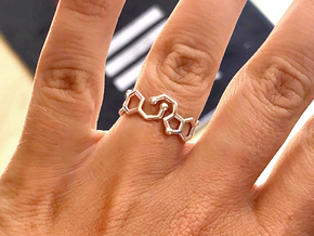 Dopamine + Serotonin Molecule Ring in Polished Silver: 5.5 / 50.25