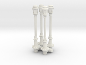 City Lamp Post (x4) 1/76 in White Natural Versatile Plastic