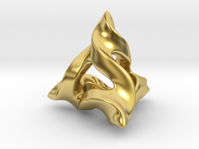 Twisted Horns D4 in Polished Brass