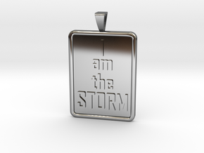 I AM THE STORM Tag with Bail in Fine Detail Polished Silver