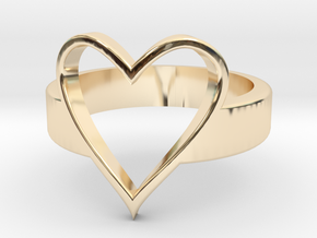 Open Heart - Ring in 14k Gold Plated Brass: 5 / 49