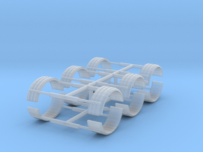 1/87th Single TIre Fenders set of six in Smooth Fine Detail Plastic