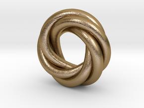 Quadruple Recursive Ring LH in Polished Gold Steel