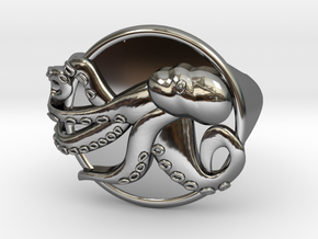 Playful Octopus Signet Ring Size 6.0 in Fine Detail Polished Silver