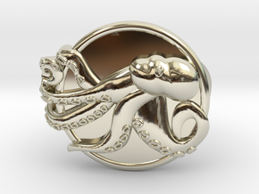 Playful Octopus Signet Ring Size 7.5 in 14k White Gold