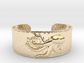 Playful Octopus Large Hammered Cuff in 14k Gold Plated Brass