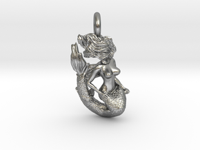 Mermaid Pendant no anchor in Natural Silver