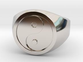 Yin Yang Ring in Rhodium Plated Brass: 8 / 56.75