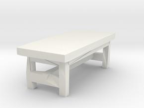 Miniature 1:48 Rustic Bench Short in White Natural Versatile Plastic