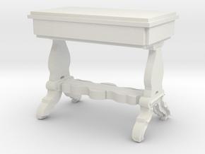 Miniature 1:48 Victorian Ornate Writing Desk in White Natural Versatile Plastic