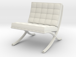 Miniature Doll House 1:12 Barcelona Chair in White Natural Versatile Plastic