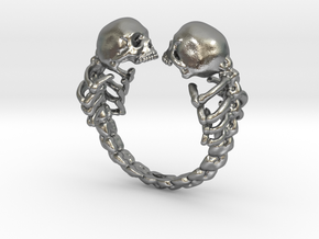 Lovers of Valadro adjustable Skull Ring  in Natural Silver: Small