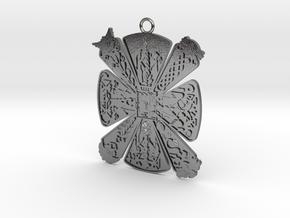 Cress Slavic amulet Pendant in Polished Silver
