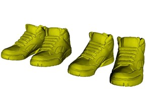1/24 scale sneaker shoes A x 2 pairs in Smooth Fine Detail Plastic