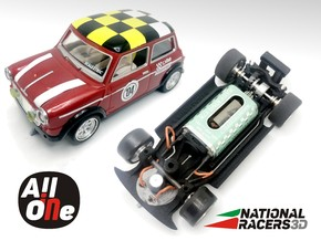 Chassis for Scalextric/SCX MlNl CprS (Inline-AiO) in Black Natural Versatile Plastic