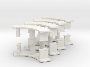 Curved Garden Bench (x8) 1/72 in White Natural Versatile Plastic