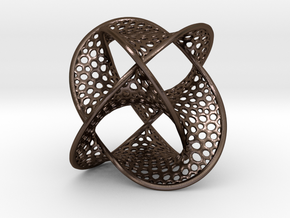 Borromean Rings Seifert Surface (5cm) in Polished Bronze Steel