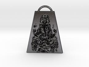 Lord Ganesha Amulet OM GUM GANAPATAYE NAMAHA in Polished and Bronzed Black Steel