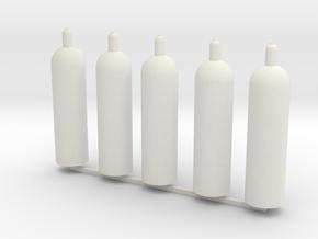 1:16 propane gasbottle Propan Gasflaschen set of 5 in White Natural Versatile Plastic