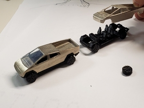 3inch cyber truck body only (see other parts for c in Polished Bronzed-Silver Steel