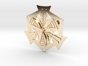 Abstract pendant in 14K Yellow Gold