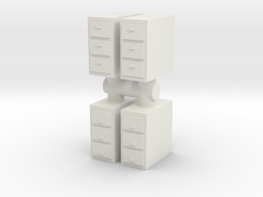 Office Cabinet (x4) 1/56 in White Natural Versatile Plastic