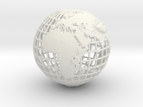 earth in mesh with relief in White Natural Versatile Plastic