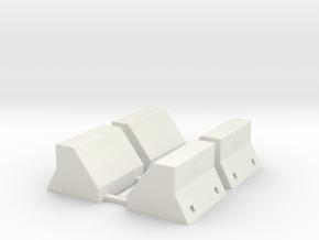 Four HO Lackawanna Concrete Bumpers in White Natural Versatile Plastic: 1:87 - HO