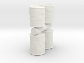 Damaged Oil Barrels (x4) 1/72 in White Natural Versatile Plastic