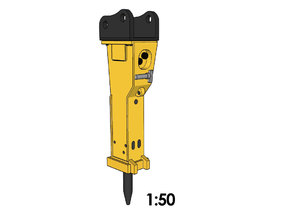 1:50 - Hydraulic Hammer for 20-25t excavators in Smooth Fine Detail Plastic