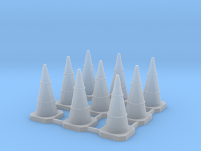 9x 1:120 TT Scale Traffic Cone in Smooth Fine Detail Plastic: 1:120 - TT