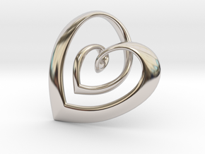 Double Hearts Pendant ver.2 in Rhodium Plated Brass